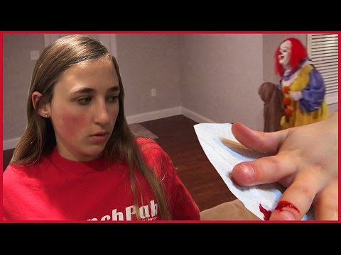Girl Cuts Finger Prank - Creepy Clown Scare Tactics Worry Girls and Dad