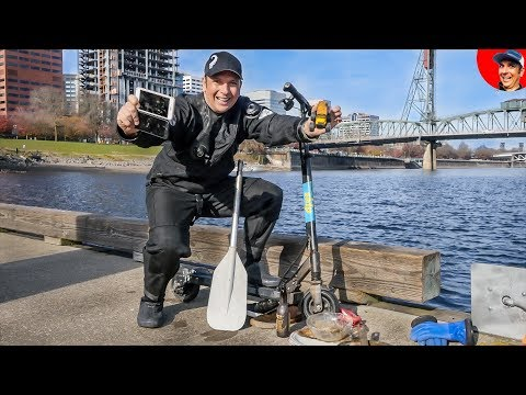 Found E-Scooter and iPhone in River while Scuba Diving for Lost Valuables in Downtown Portland!