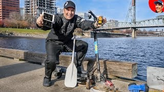 River Treasure Hunting in Portland we Found E-Scooter & Phones while Scuba Diving (WIN A PARALENZ)