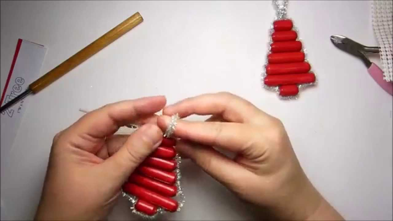 how to make a sparkly paper bead christmas tree ornament youtube - Beaded Christmas Tree Decorations To Make
