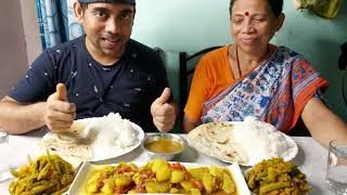 dum aloo recipe and eating with Parantha and Rice