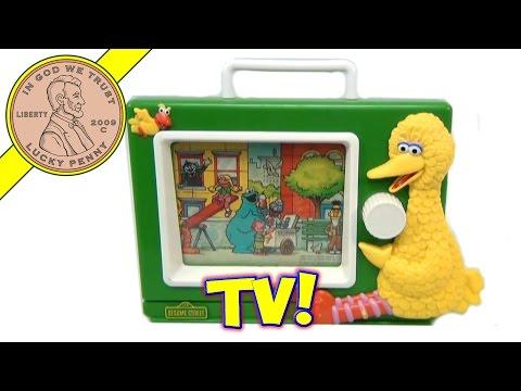Vintage Sesame Street Big Bird Wind-Up Musical Television Toy, by Illco Preschool