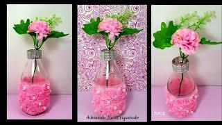 Garrafa decorada com pérolas e flores – Para decoração