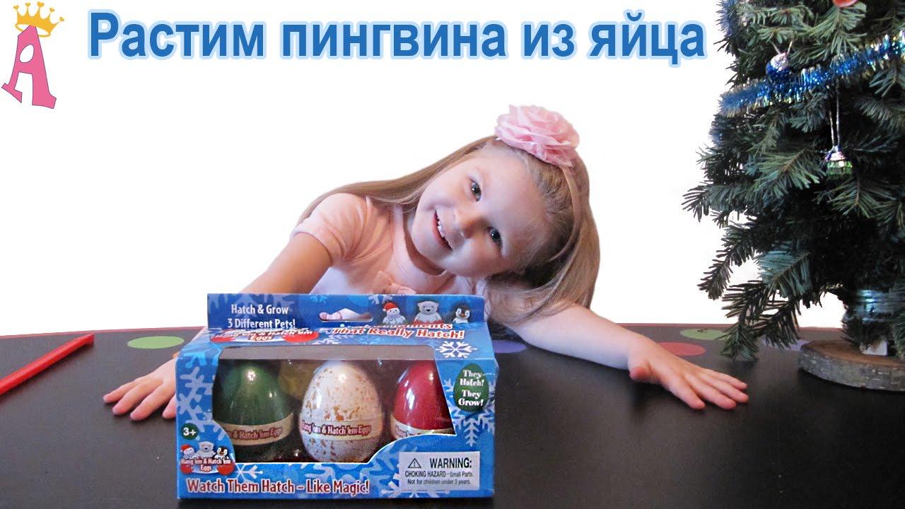 Яйцо из которого вылупляется пингвин игрушка