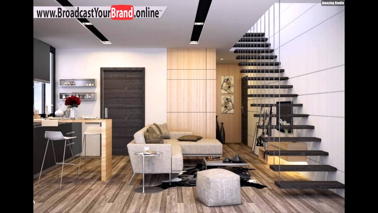 wohnzimmer k che in einem holzboden schwarz grau schwebende treppen youtube. Black Bedroom Furniture Sets. Home Design Ideas
