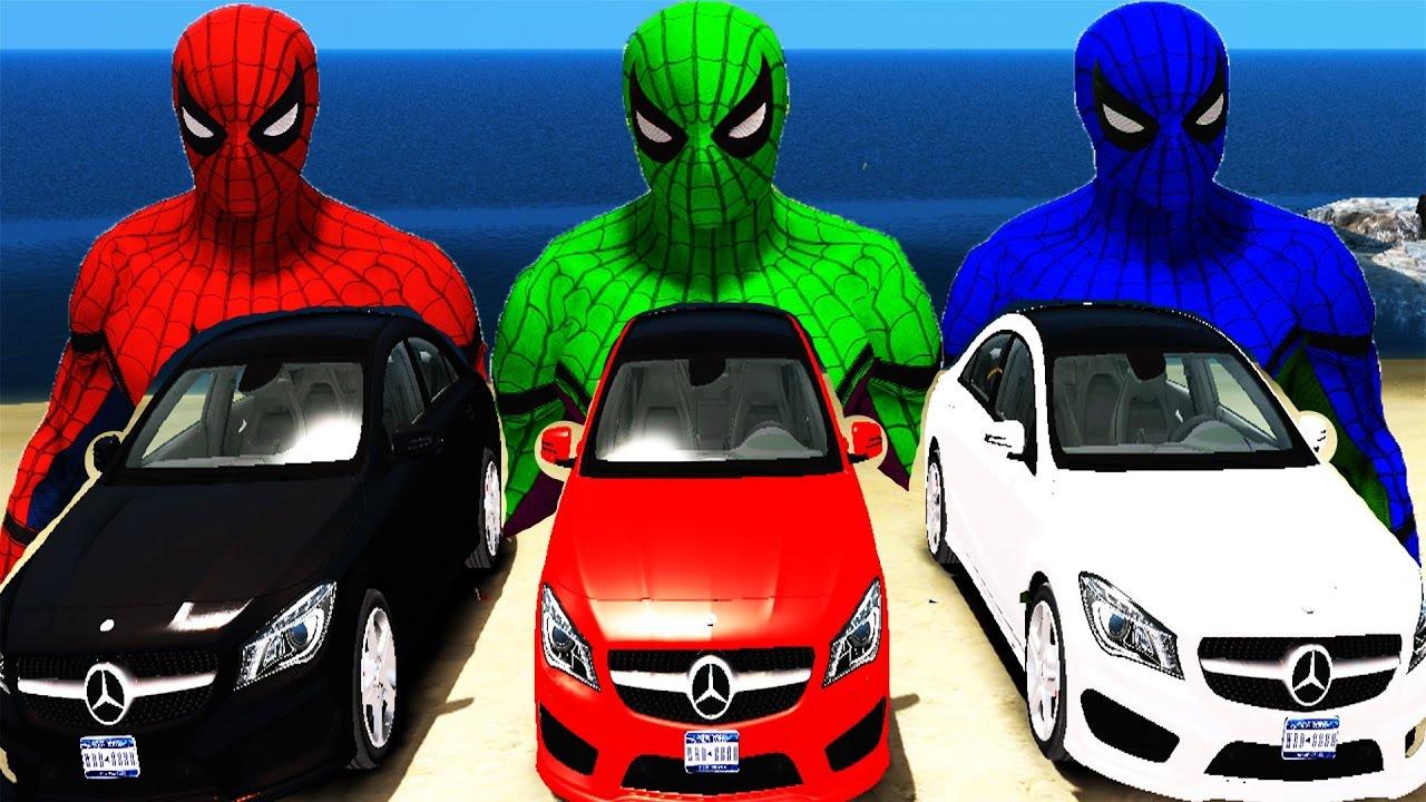 Download Colores Nuevo Spaderman Y Colores Super Cars Mercedes Benz Rimas Infantiles Mega Party Songs