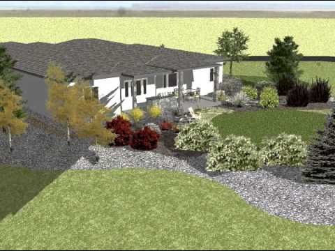ranch style house 3d landscape