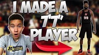 """I MADE A 7'7"""" CENTER!! HE CAN DUNK WITHOUT JUMPING!? - NBA 2K17 