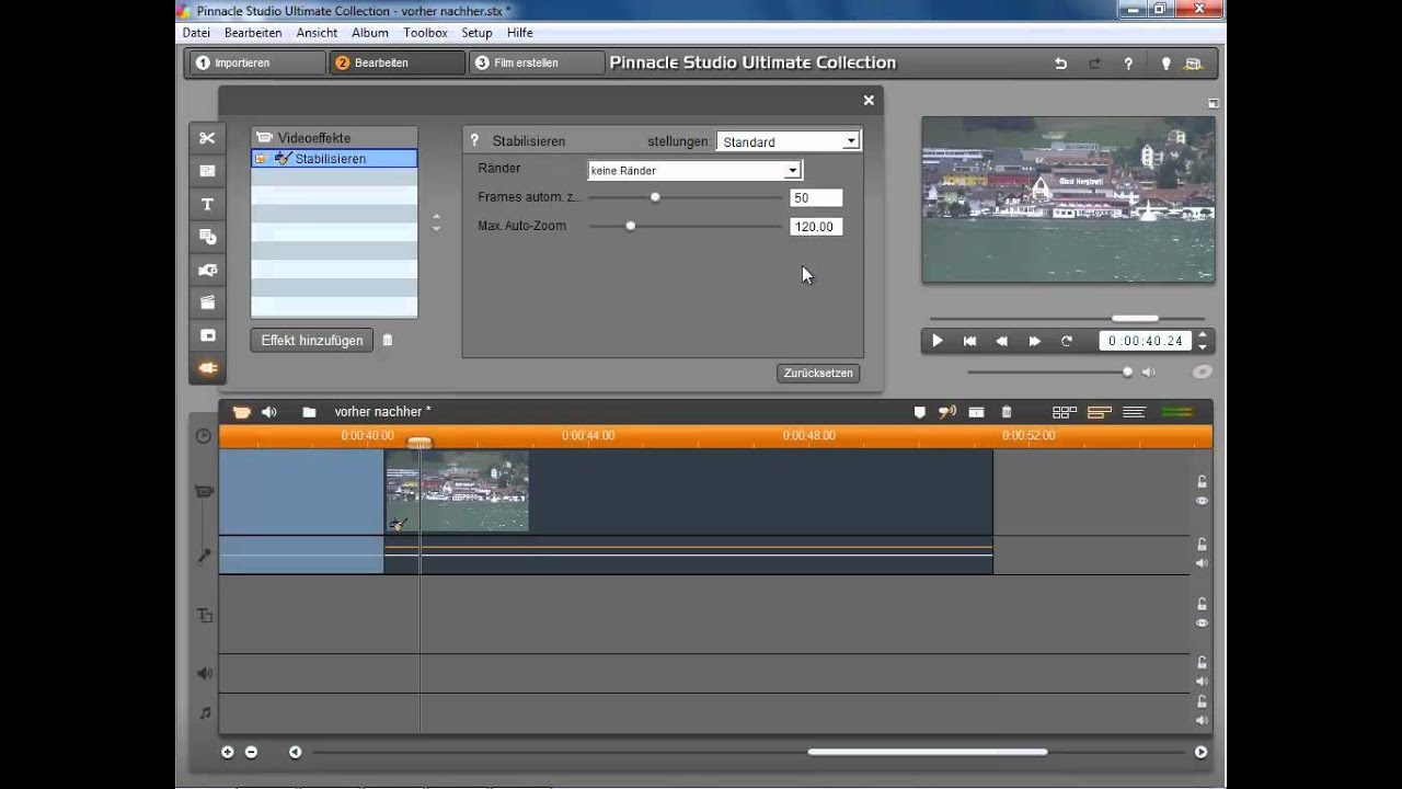 Pinnacle Studio Video stabilisieren und entwackeln - YouTube