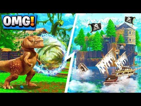 ALL *NEW* Fortnite Locations Season 5!   Jurassic Jungle, Pirates Point! ( Map )