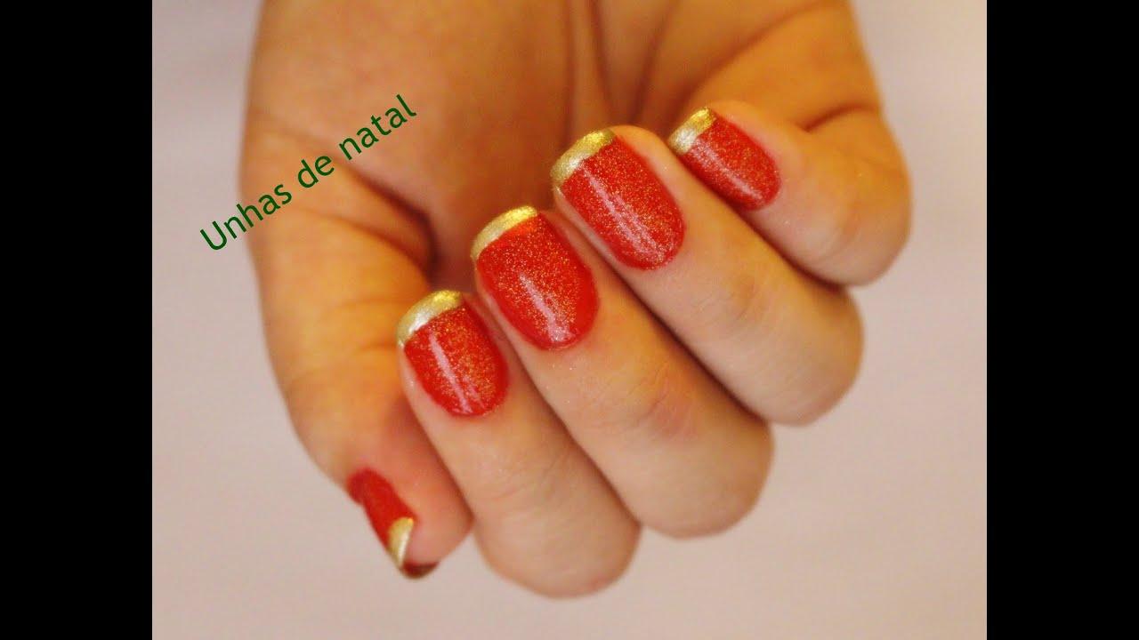 Amado Tutorial Unhas de natal (francesinha vermelho e dourado) - YouTube UQ01