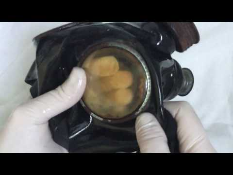 LATEX GLOVES  ⭐  Cleaning my gasmask with oil💦 [[ASMR]]