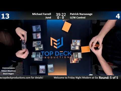 Modern FNM w/ Comm 12/22/17: Michael Farrell (Jund) vs. Patrick Narsavage (U/W Control)
