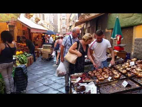 Sicilian Way Of Market Sale In Catania. The Roasted Vegetables Were So Delicious