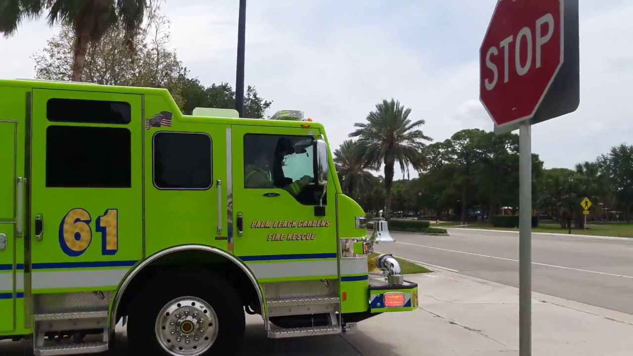 Palm beach gardens fire rescue engine 61 and rescue 61 responding code 3 with q and airhorn for Fire in palm beach gardens today