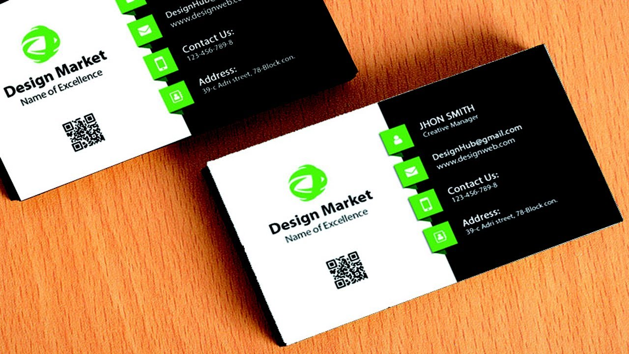 design cool business card in photoshop black green white - Business Card Design Ideas