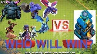 Lvl.1 troops vs max th12 giga tesla. who will win?troops vs th12.