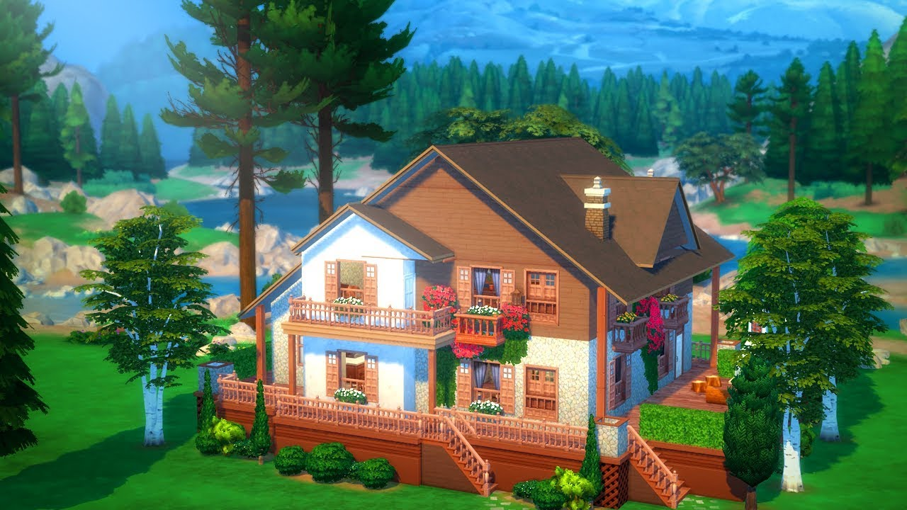 Sims 4 Pretty Chalet Speed Build Youtube
