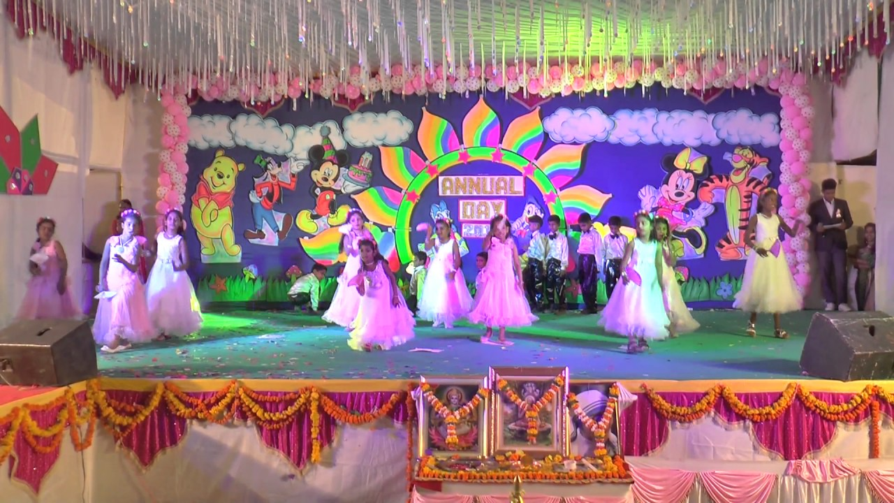 Mother teresa english school annual day 2017 retro dance for Annual function decoration