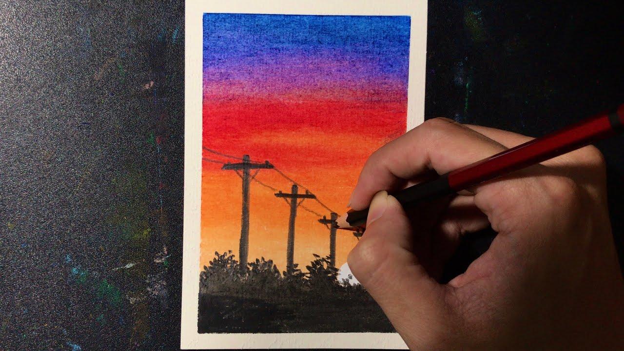 Cách Vẽ Tranh Hoàng Hôn Bằng Màu Dầu | how to draw sunset with oil pastel