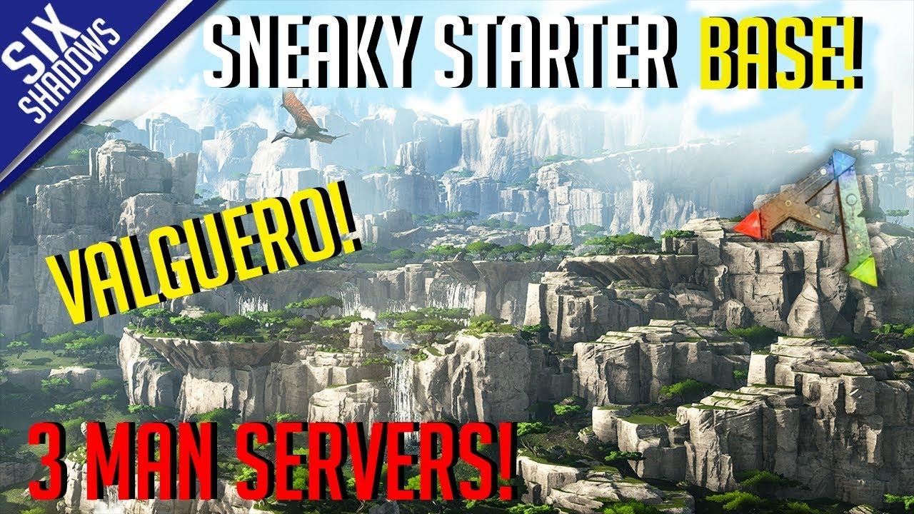 SNEAKY STARTER BASE! | NEW VALGUERO MAP | MTS 3-Man PvP Servers! - Ark:  Survival Evolved