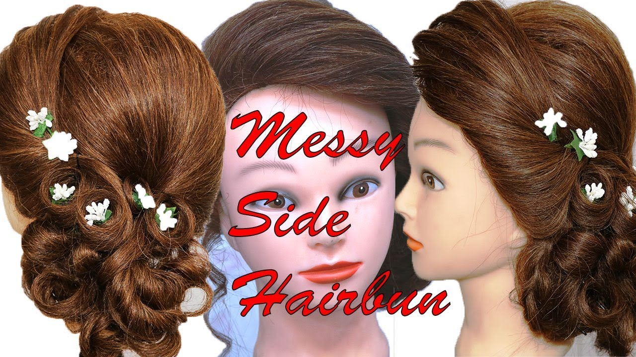 Diy Messy Side Hair Bun Easy Step By Step Guide Party Hairstyle For Medium Hairs