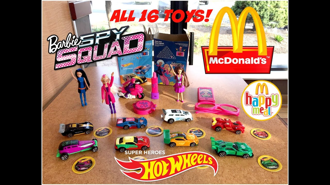 MCDONALDS Hot Wheels Super Heros & Barbie Spy Squad Happy Meal