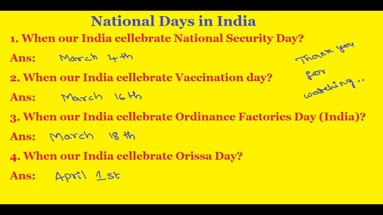 General Knowledge Questions And Answers | National Days in India | National  Security Day