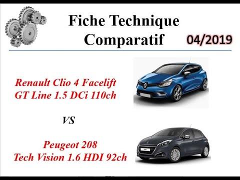 Download Fiche Technique Comparatif Clio 4 GT Line 110ch VS Peugeot 208  Tech Vision 92ch