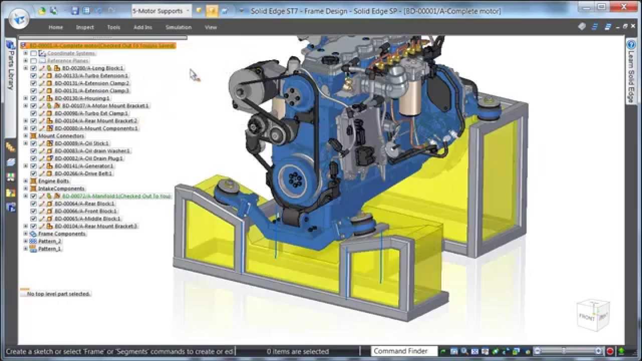 Solid Edge ST7 Frame Design Geliştirmeleri - YouTube