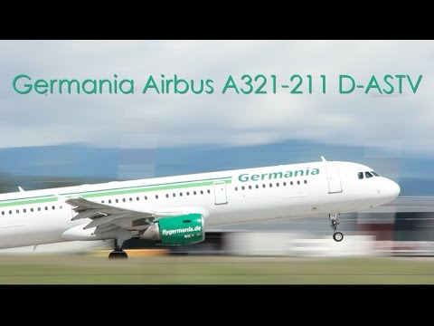 Germania Airbus A321-211 - D-ASTV taxi and takeoff at EuroAirport Basel Mulhouse Freiburg