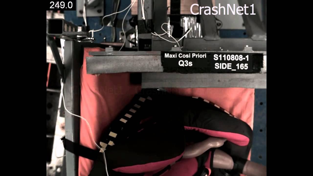 Child Seat Crash Test Maxi Cosi Priori Forward Facing Side Impact Test Youtube