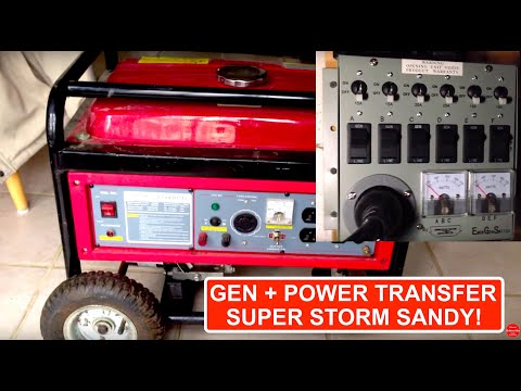 Emergency Generator with Power Transfer Switch Service Panel Sandy Outage 2012 Hurricane Storm