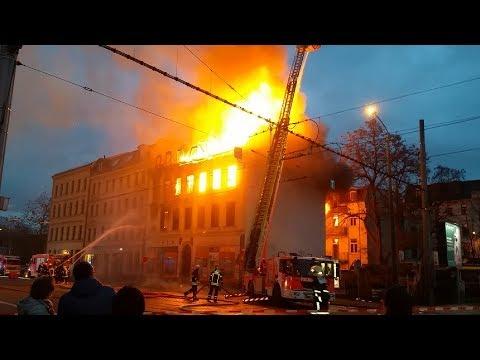 Feuerwehreinsatz Vollbrand 30.12.2017 Leipzig Gohlis