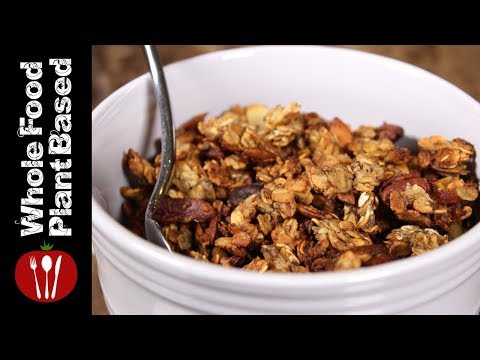 Best Plant Based Refined Sugar and Oil Free  Banana Granola: Whole Food Plant Based Recipes