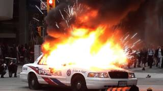 G20 Protest Toronto  Anarchists Burning Police Cars and Looking For a Fight