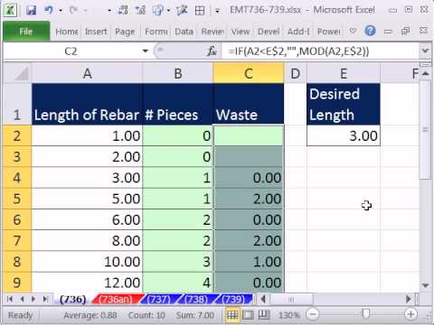 Excel Magic Trick 736 Formula Conditional Formatting To Show Waste From Cutting Rebar