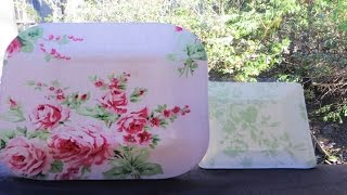 Decoupage Fabric to Washable Dishes – Decoupage Tecido para pratos laváveis