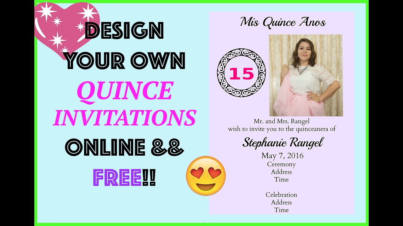 FREE INVITATION Design Online QuinceWedding by MyQuinceanera DIY