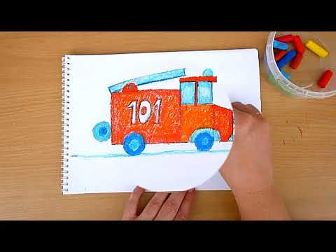 1 клас. Мистецтво. Малюємо пожежну машину восковими олівцями