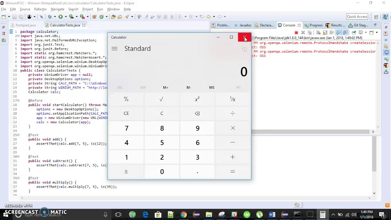 Windows Calculator Automation using Winium