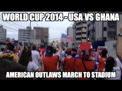 World Cup 2014 - American Outlaws march to stadium in Natal, Brazil.