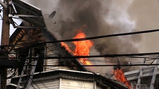 Passaic NJ Fire Dept 4th Alarm Fire 11 Rosz Pl. Heavy Fire with a Rescue made on arrival