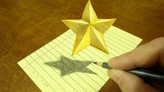 How to Draw Floating Star - Drawing 3D Star - Art on Line Paper - By Vamos