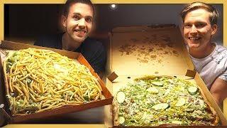 Familjepizza med mer än 30 pålägg!