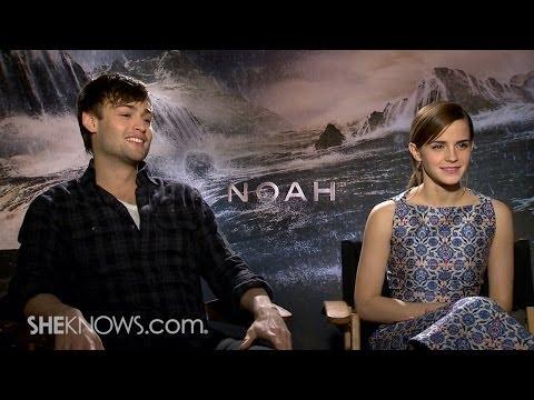 Stars Emma Watson & Douglas Booth Talk New Movie 'Noah'  Celebrity