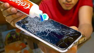 Does Toothpaste REALLY REMOVE Cracks On A Phone? Does Toothpaste Fix Cracked Screens? Nail Polish?.. screenshot 1