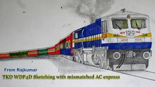 WDP4D GT46PAC Loco Sketching with mismatched AC express