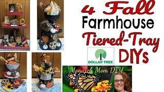 FALL FARMHOUSE DOLLAR TREE TIERED TRAY DIYS #farmhousetieredtray #dollartreedecor