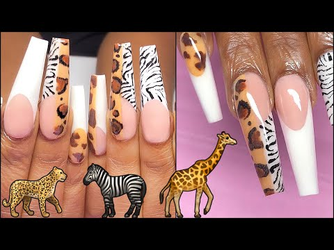 When Après Dupe & Acrylic Have A Baby! SAFARI WILD STYLE Nail Art French, Color Blocking, Stamping